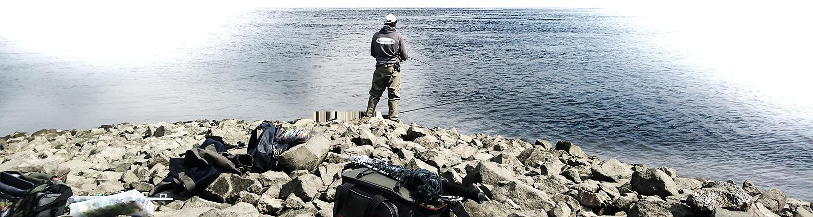 Angler auf der Buhne